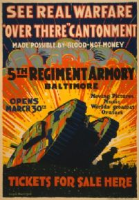 "Vintage War Poster See real warfare - ""over there"" cantonment - Made possible by blood-not money."